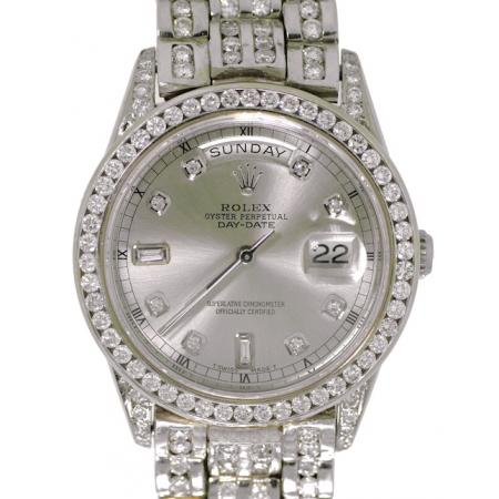 Men�s Oyster Perpetual Rolex, Beautiful 18Kt.White Gold President Day-Date, All Custom Designed with 18kt White Gold Diamond Bracelet with Hidden Clasp,  Double Quick-Set, Watch is set with Custom Design Silver Diamond Dial, Custom Design 2.0ct Diamond Be