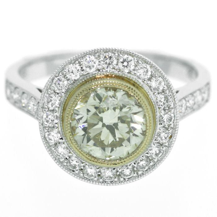 Yellow Diamond Engagement Ring  18kt White Gold  .30Rd Diamonds  Center stone GIA Certified  1.23ct Round Brilliant